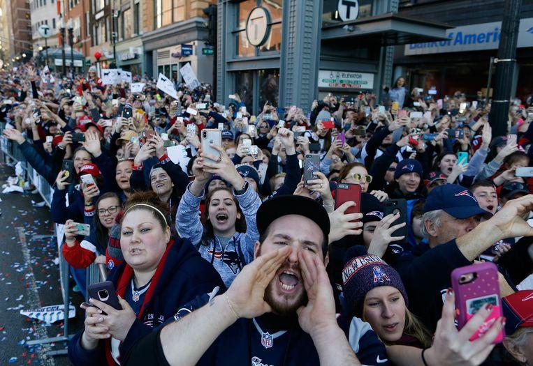 Fans van de New England Patriots vieren feest nadat het team vorig jaar de Super Bowl won.  Beeld Getty
