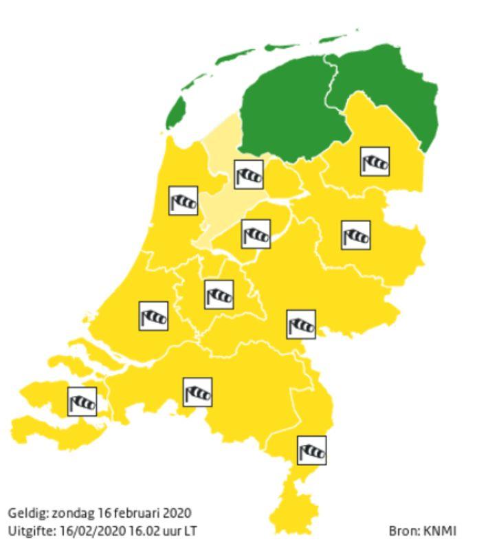 Het KNMI heeft voor het grootste deel van Nederland code geel afgekondigd.
