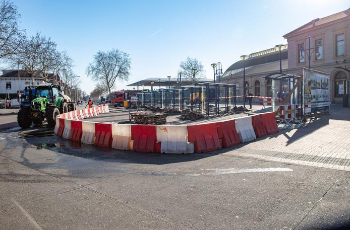 De werkzaamheden bij het station in Zwolle, een van de redenen dat de ov-beschikbaarheid ernstig daalde in de atlas.