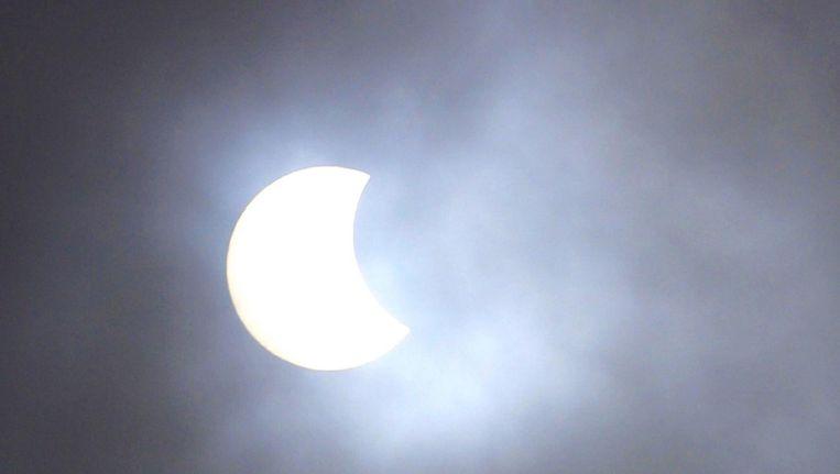 Een foto van de zonsverduistering in 2015, gemaakt in Wijk aan Zee. Beeld anp