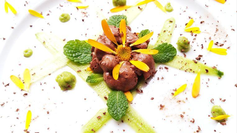 Chocolademousse met zoetzure komkommer en avocadocrème. Beeld Marie Louise Schipper