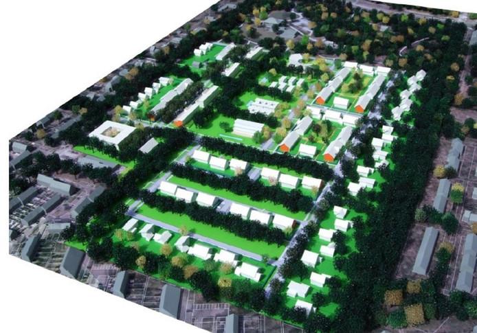 Impressie van de nieuwe wijk. De huidige laanstructuur komt daarin terug.