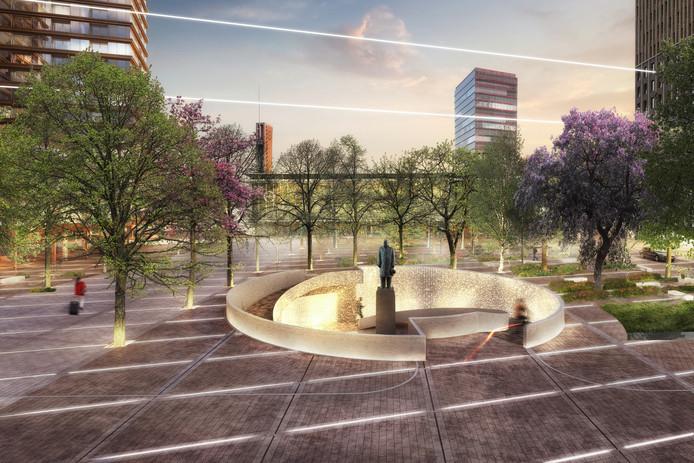 'ZUS   Zones Urbaines Sensibles'.  Impressie van het plan District E van projectontwikkelaar/belegger Amvest en bureau Powerhouse Company voor het Stationsplein in Eindhoven.