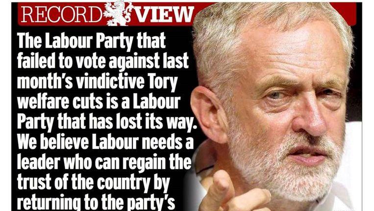 The Daily Record roept op Corbyn op het schild te hijsen. Beeld