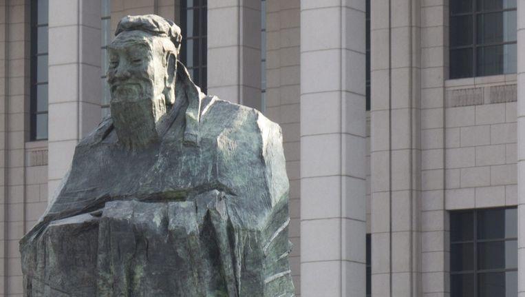 Beeld van Confucius op het Tiananmen-plein in Peking Beeld EPA