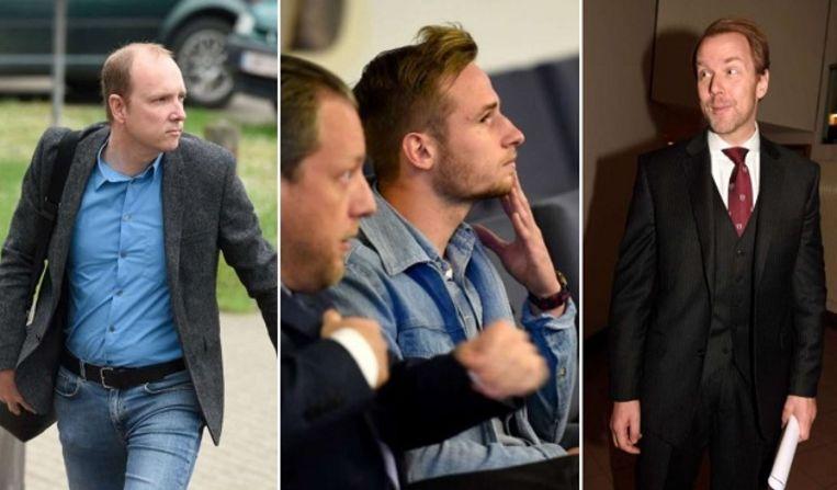 Van l naar r: KV Mechelen-bestuurder Olivier Somers, spijtoptant Olivier Myny met zijn advocaat De Preter en bondsprocureur Kris Wagner.