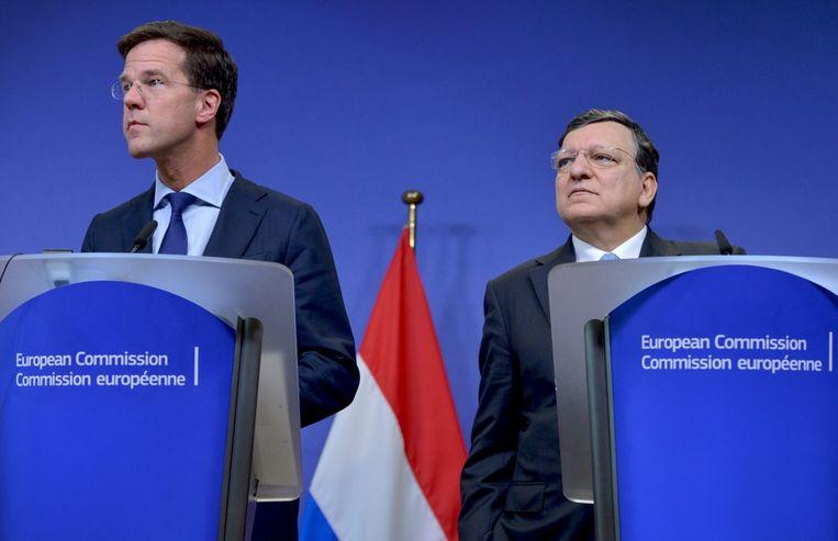 Premier Rutte is in Brussel is voor overleg met onder anderen de voorzitter van de Europese Commissie José Manuel Barroso. Beeld epa