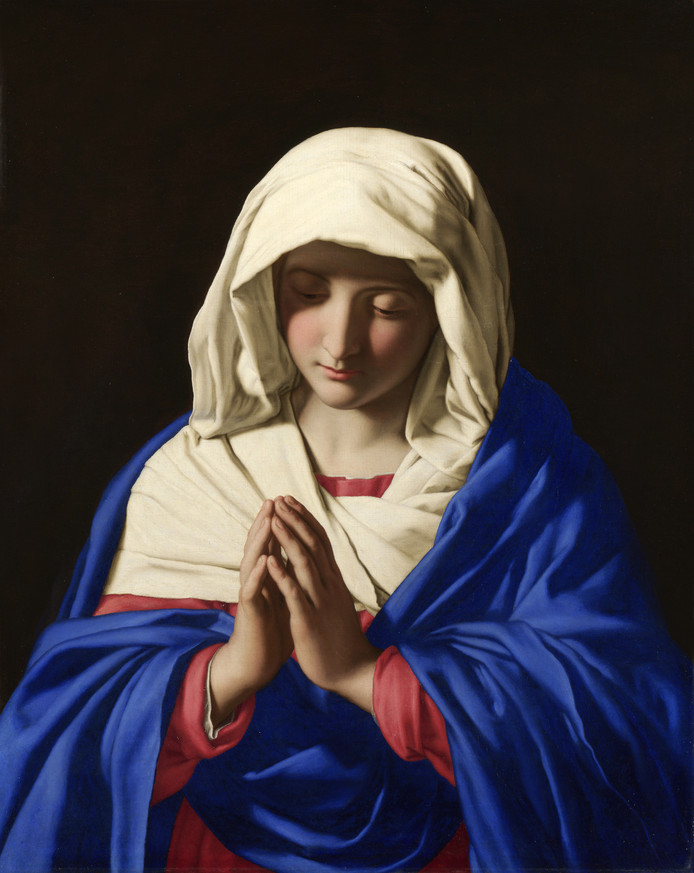 Name De Heilige Maagd Maria, bezongen in het Stabat Mater en geschilderd door Sassoferrato.