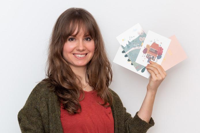 Naast het maken van illustraties voor geboorte- en huwelijkskaartjes wil Joëlle van Arnhem ook de markt van rouwkaarten verrijken met haar werk.