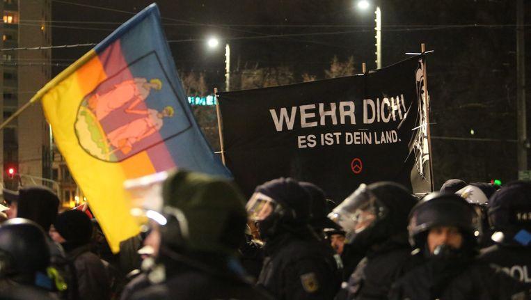 Archiefbeeld van een Legida-betoging in Leipzig op 30 januari.