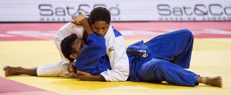 Judoka Dex Elmont (in het wit). Beeld anp