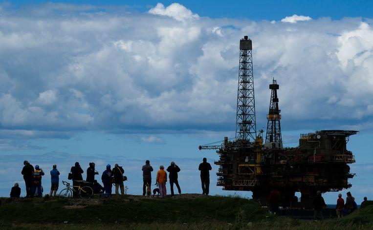 Gas- en olieplatform Brent Bravo moet hetzelfde lot als 'zusterplatform' Brent Delta ondergaan, dat in 2017 als eerste van de vier platforms op het Brent-veld opgeruimd werd.  Beeld Getty