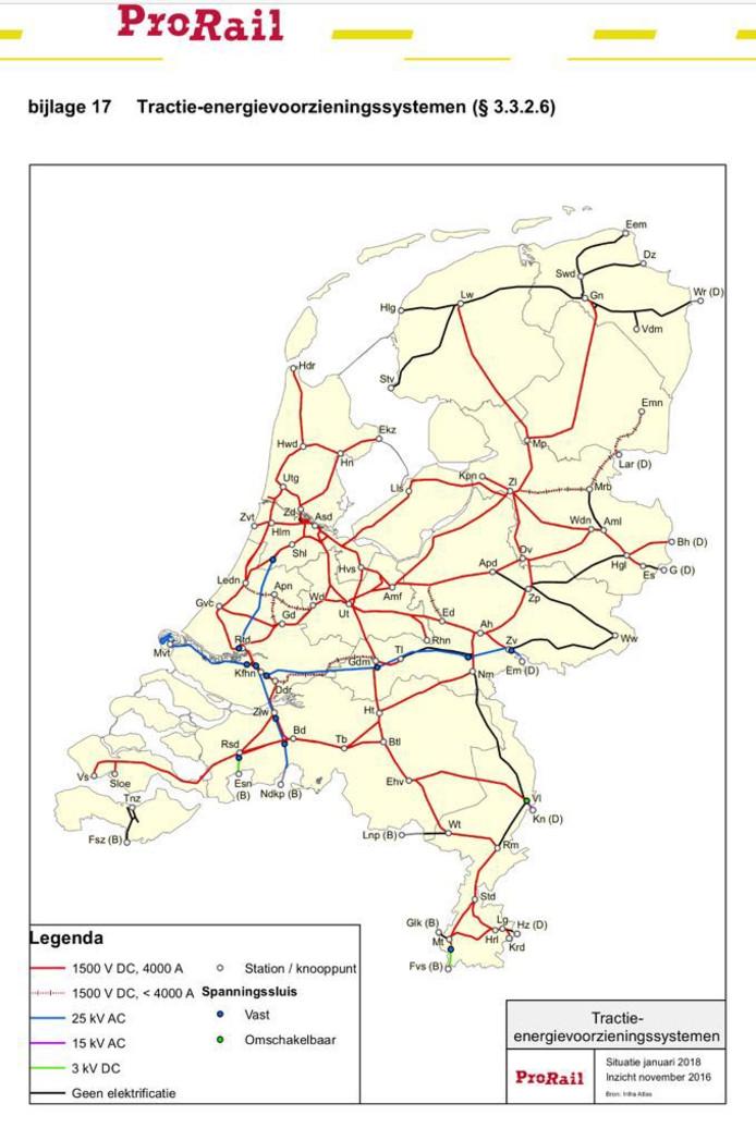Het Nederlandse spoorwegennet. De zwarte lijnen worden bereden door dieseltreinen.