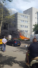 Bankjes in brand gevlogen aan de Frankrijkstraat in Eindhoven.
