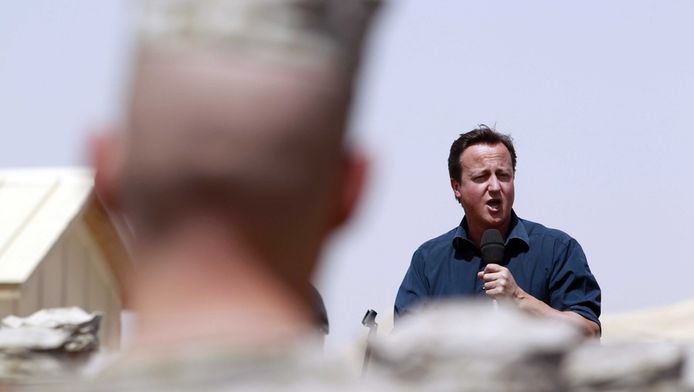 De Britse premier David Cameron in Afghanistan, vandaag.