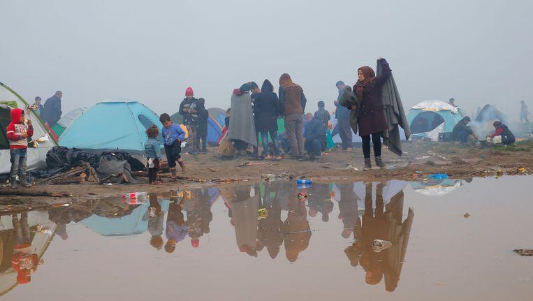 Gestrande vluchtelingen in Idomeni, in het noorden van Griekenland.
