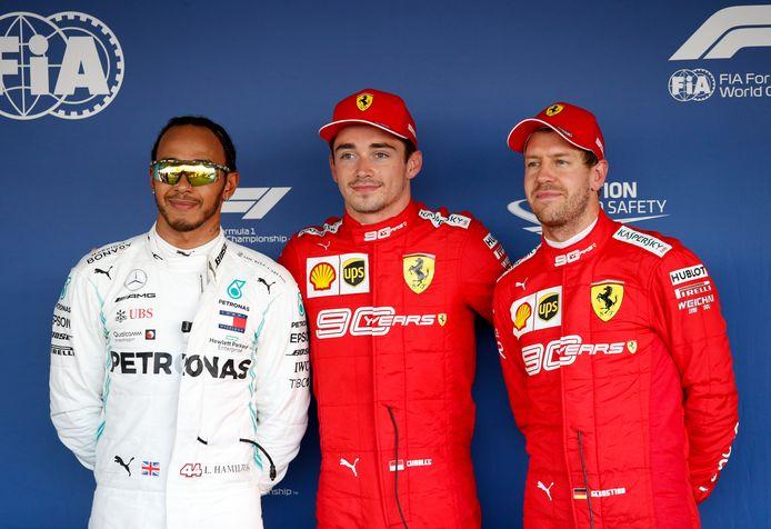 Lewis Hamilton, Charles Leclerc en Sebastian Vettel.