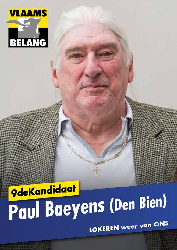 Paul Baeyens, alias Den Bien, is een opvallende naam op de lijst van het Vlaams Belang.