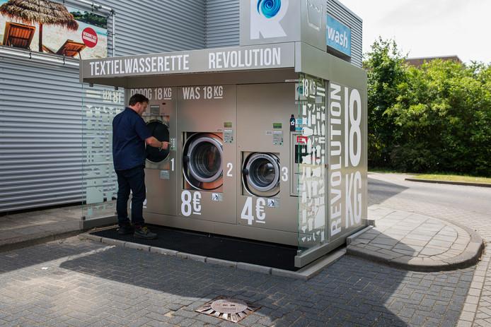 De wasserette bij benzinestation Haan in Wageningen.