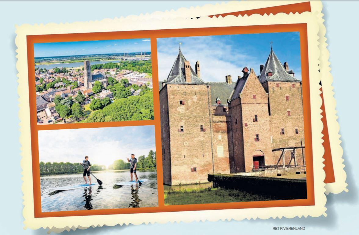 Een fictieve ansichtkaart met toeristische topattracties van de Bommelerwaard.