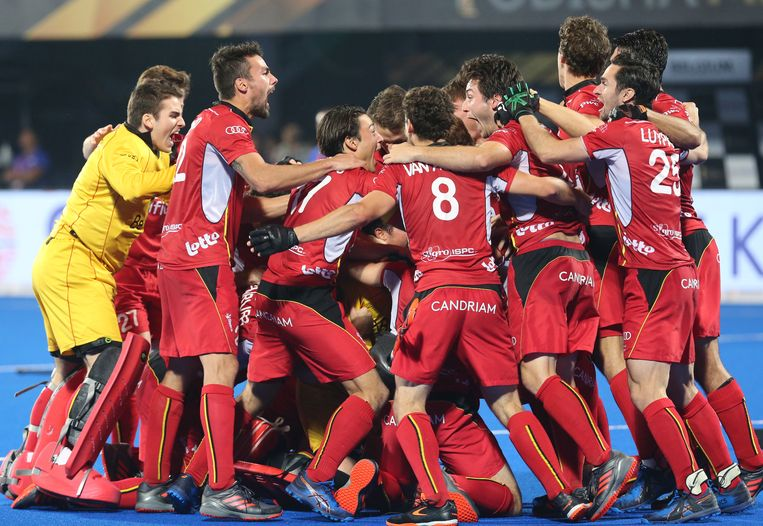 België viert de overwinning op Nederland  Beeld EPA
