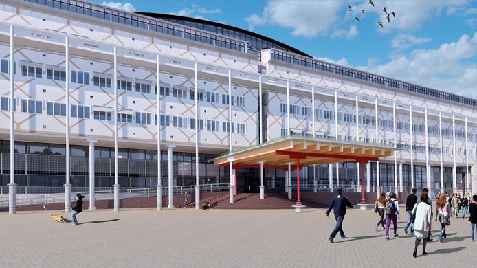 Dit is het eerste ontwerp van een nieuwe entree van het stadhuis. Dit ontwerp maakte veel los. Daarna maakte architect Hans Ruijssenaars nog versies met ander materiaal en een minder ver doorlopende luifel. Ook die voldoen wat betreft de gemeente niet.