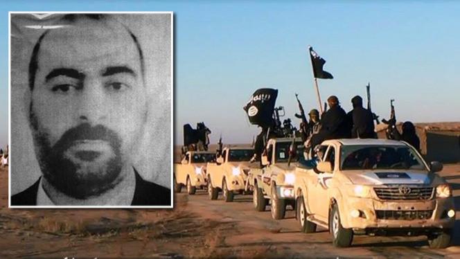 De ISIS-strijders zijn onder leiding van Baghdadi (inzet) inmiddels de Iraakse hoofdstad Bagdad op minder dan 90 kilometer genaderd.