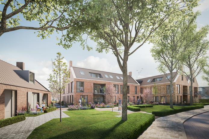 Een artist impression van het nieuwe wooncomplex van de Woonstichting Valburg aan de Beatrixstraat. Met links de drie grondgebonden woningen en rechts het appartementencomplex met veertien sociale huurwoningen en op de bovenverdieping vier vrije sector huurwoningen.