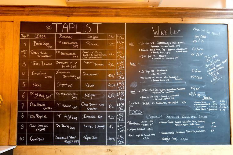 Een uitgebreid menu met maar liefst tien verschillende craftbieren van het vat.