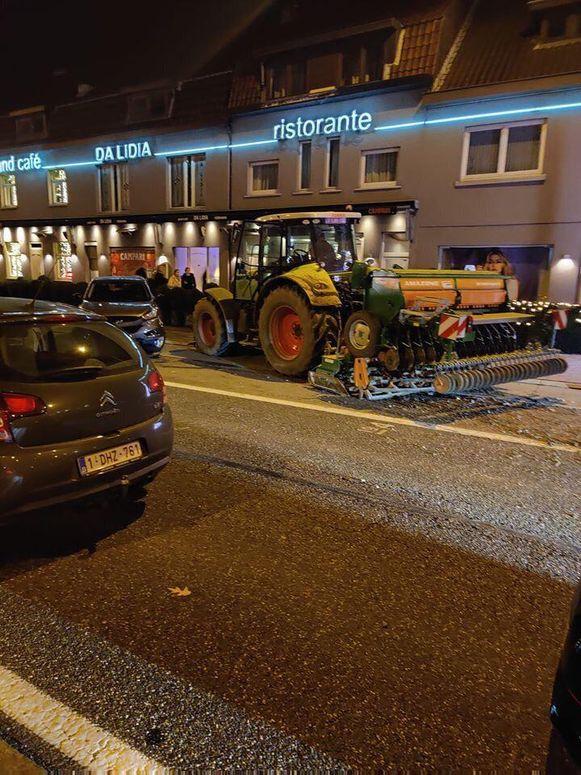 De tractor eindigde ter hoogte van restaurant Da Lidia.