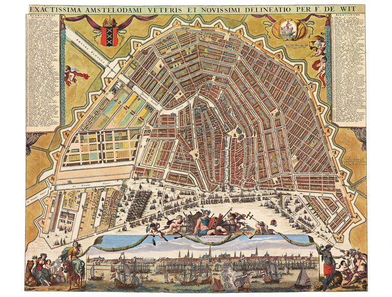 Kaart van Amsterdam 1663. Beeld