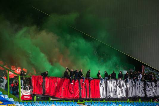 Het uitvak met de supporters van Feyenoord bij de vorige wedstrijd in GelreDome.