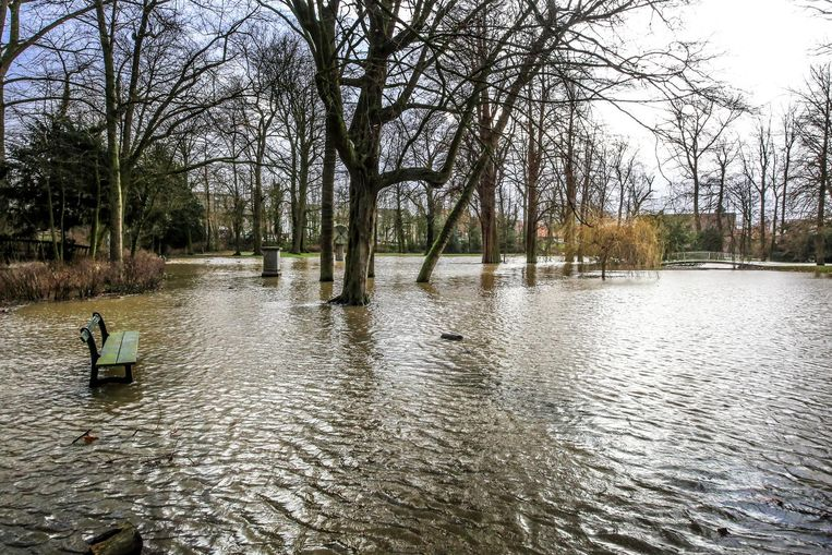 De Heulebeek is ver uit zijn oevers getreden in het Heulepark. Ook het kunstwerk met de molensteen staat nu temidden het water.