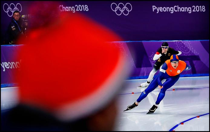 Sven Kramer met de focus op goud tijdens zijn 5000 meter.