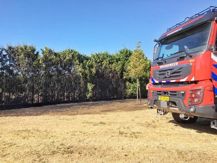 Brand in haag bij sportpark Hoogerheide.