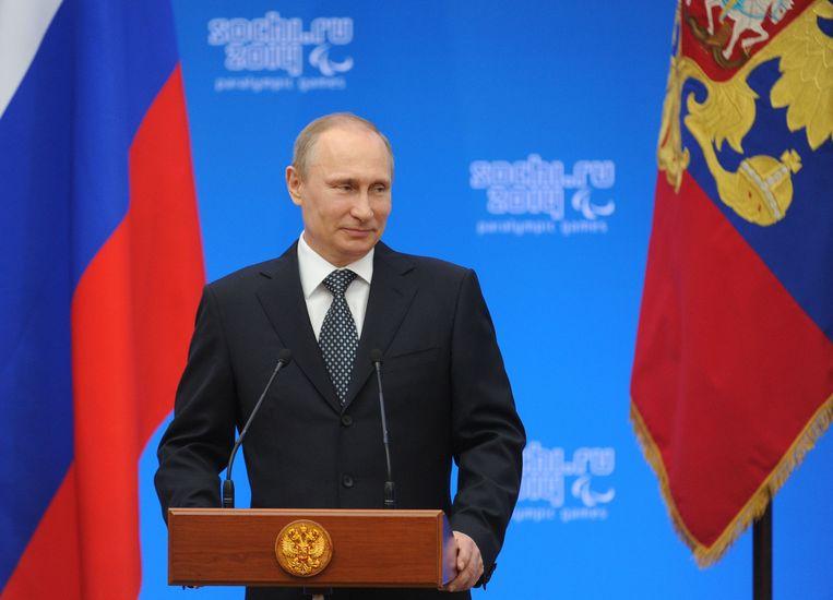 De Russische president Vladimir Poetin erkent de afscheiding van de Krim van Oekraïne. Beeld anp