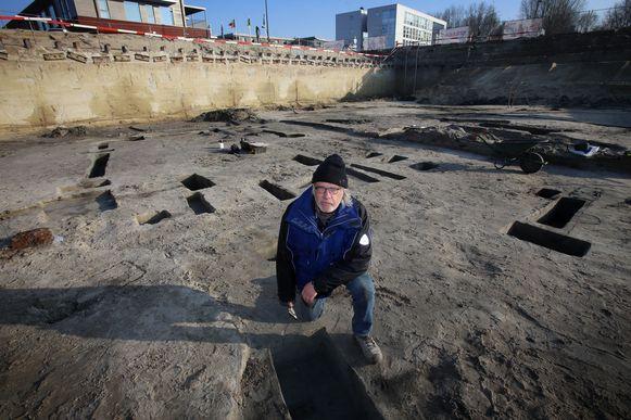 Marc Dewilde tijdens de opgravingswerken eind 2016. De resultaten van toen licht hij zondag toe