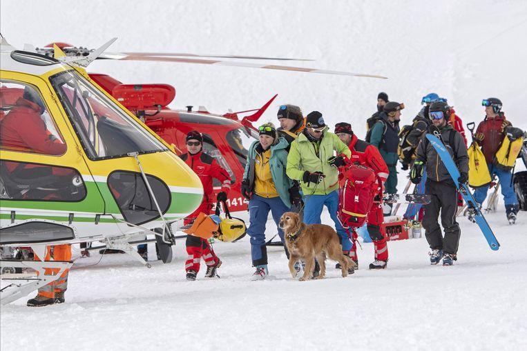 Beeld van de reddingsactie in het Zwitserse Andermatt.