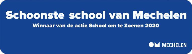 De winnende scholen krijgen dit straatnaambord.