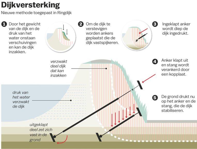 Hoe de Ringdijk verstevigd kan worden Beeld Laura van der Bijl