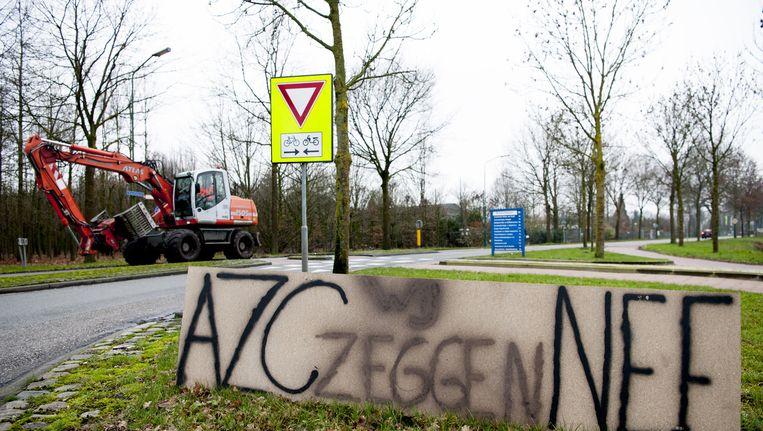 Protest in Heesch tegen de komst van een azc. Beeld ANP