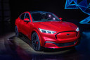 Ford reveals its first mass-market electric car the Mustang Mach-E, which is an all-electric vehicle that bears the name of the company's iconic muscle car at a ceremony in Hawthorne, California on November 17, 2019. - This is Ford's first serious attempt at making a long-range EV and will be the flagship of a new lineup that will include an electric F-150 pickup truck. (Photo by Mark RALSTON / AFP)