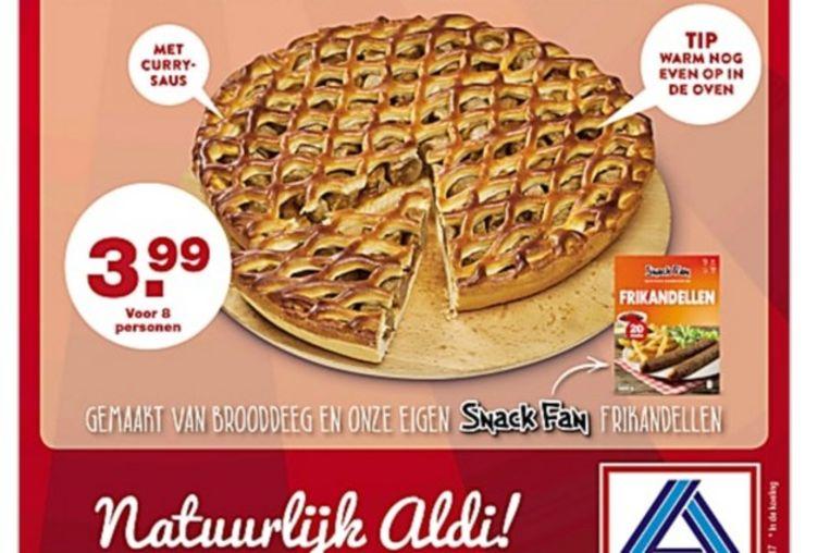 De frikadellenvlaai die vanaf morgen in de Aldi in Nederland te koop is.