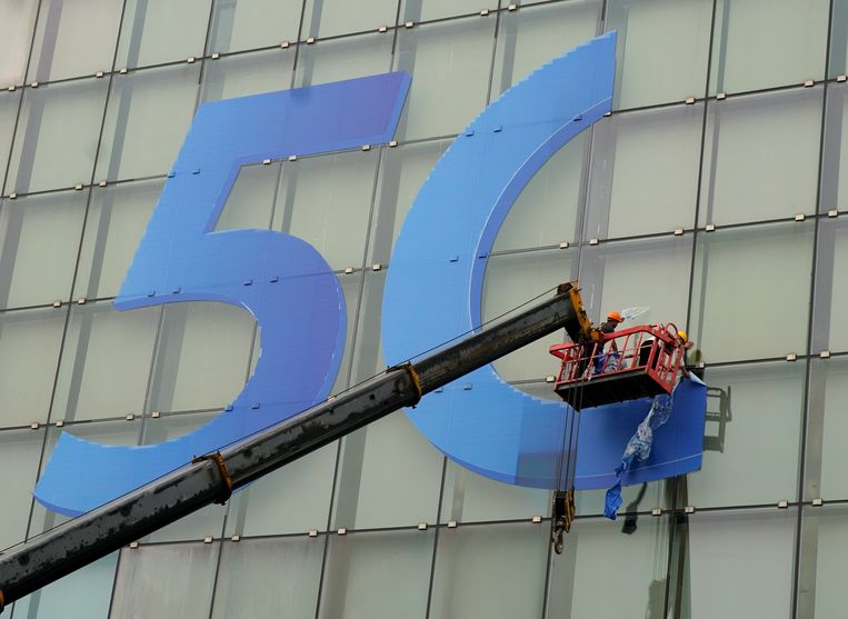 Reclame voor 5G in Shanghai, in april van dit jaar. Beeld null