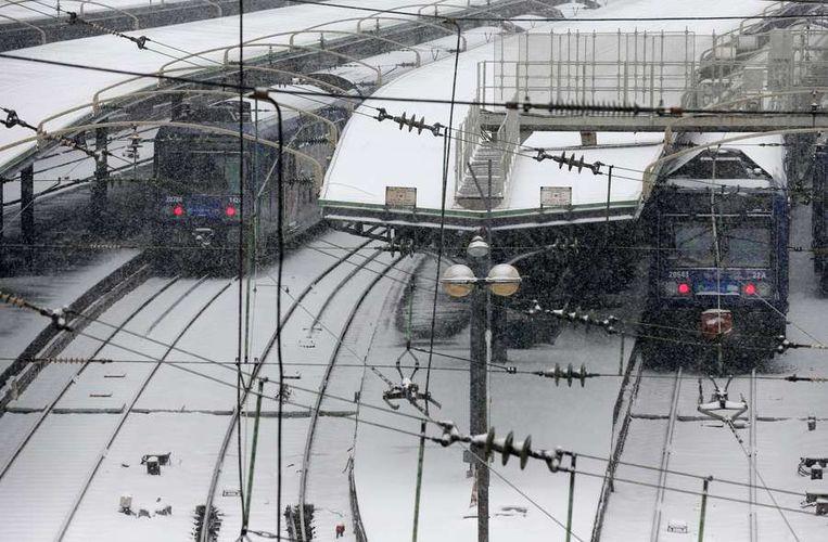 Treinen stonden stil door het slechte weer Beeld afp