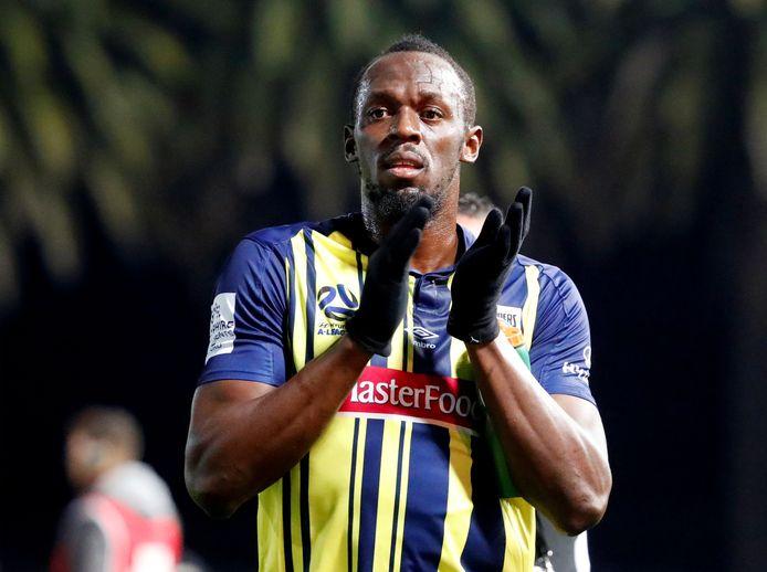 Usain Bolt in het shirt van Central Coast Mariners.