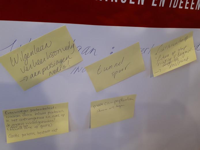 Enkele suggesties van inwoners van Etten-Leur bij de thematafel Verkeer en Vervoer.