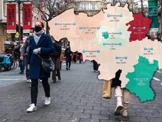 IN KAART. Besmettingen stijgen vooral in Limburg, ziekenhuisopnames in Oost- en West-Vlaanderen. Bekijk hier de situatie in uw regio