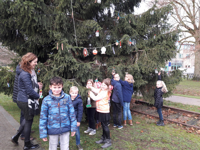 De leerlingen tuigen de kerstboom op.