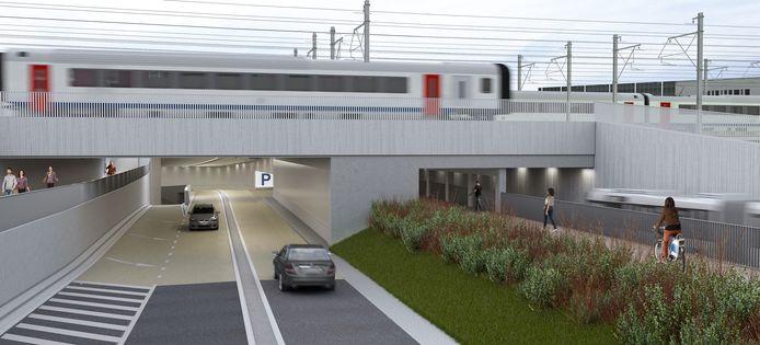 De kluifrotonde Appel verdwijnt. Er komt de komende jaren een wegtunnel en naastliggende fiets- en bustunnel. Hier zie je de in- en uitrit aan de kant van rotonde Panorama.
